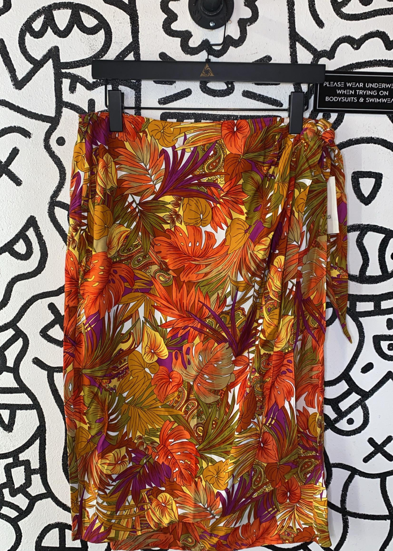 NWT Ann Klein Orange Floral Print Wrap Skirt M
