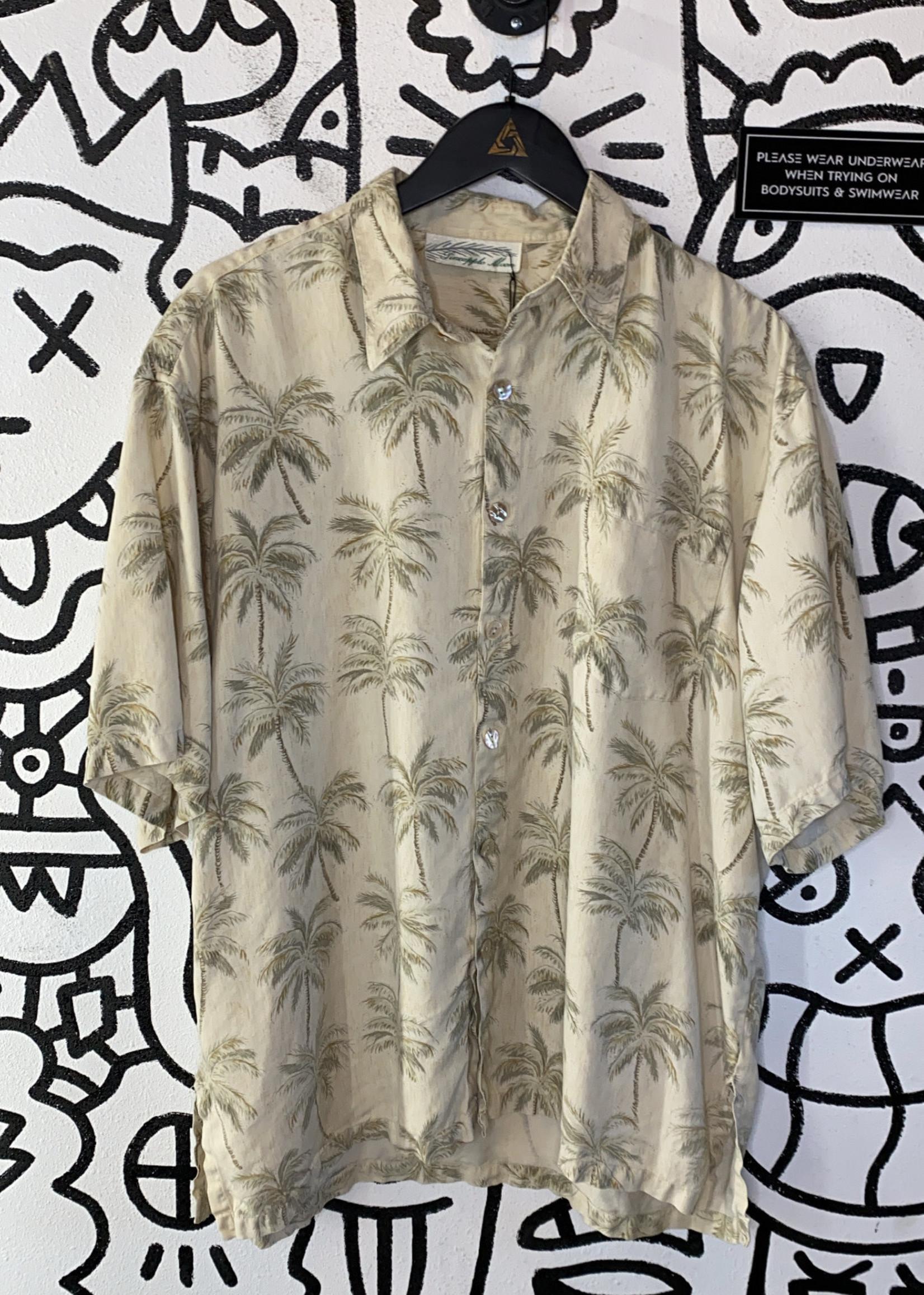 Pineapple Moon Beige Palm Tree Print Button Down XL