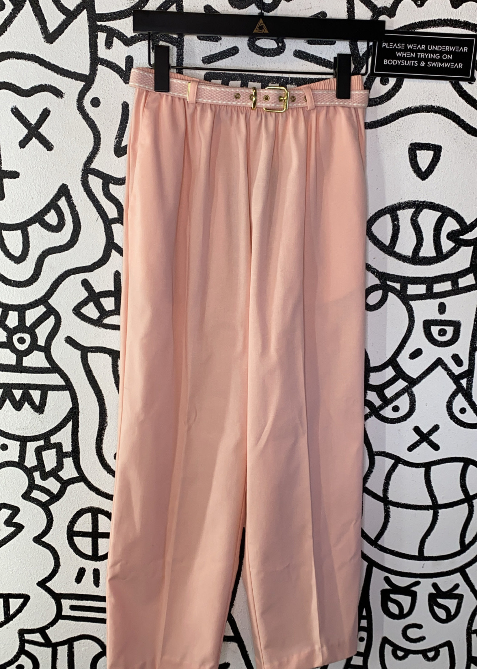 """Deadstock Alfred Dunner Pink Belted Trousers 25"""""""