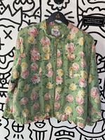 Clipper Bay Vintage Seafoam Green Floral Print Silk Bomber L