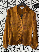 Nycard Collection Brown Reptile Print Silk Button Down 8/M