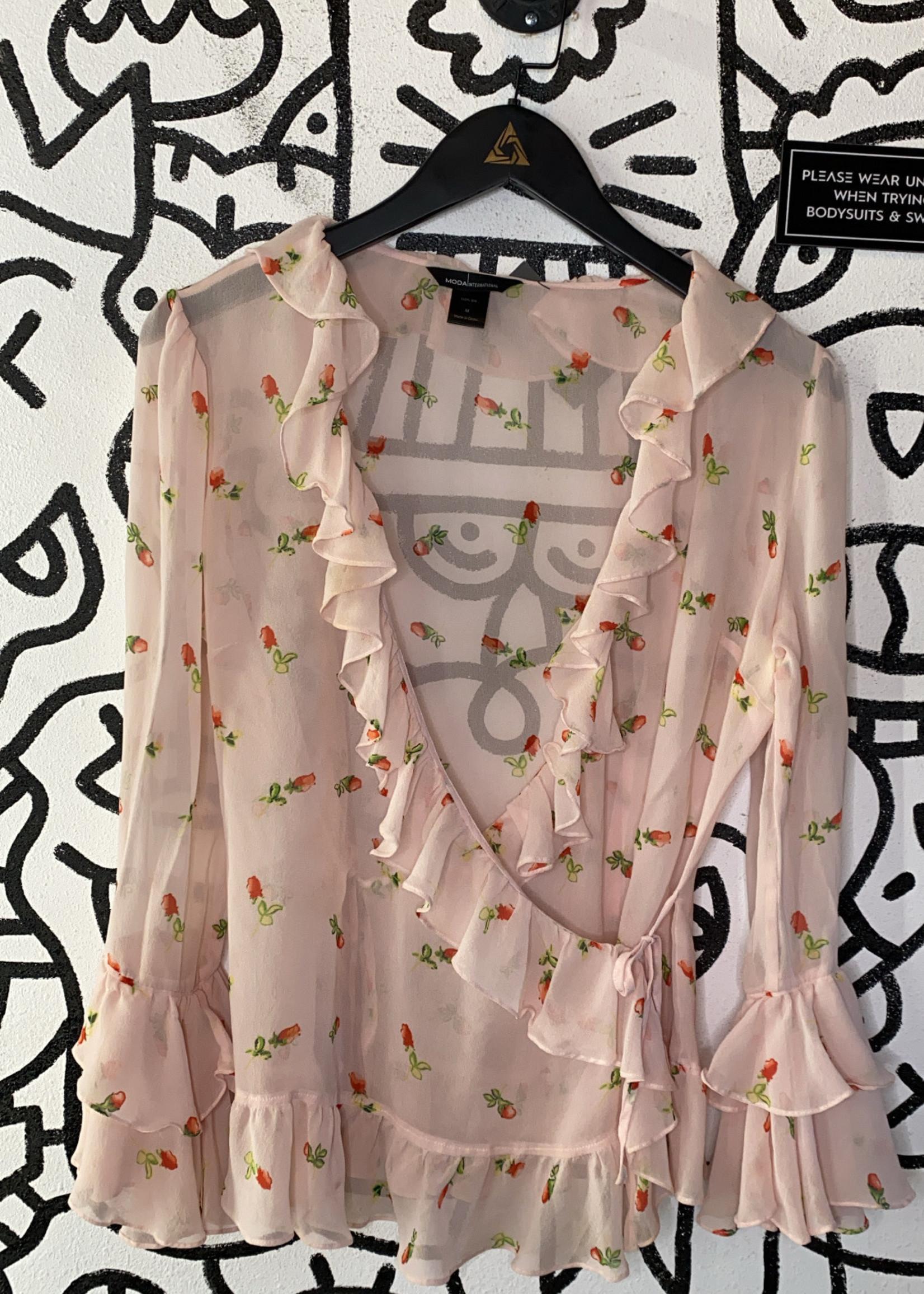Moda International Light Pink Ruffle Tie Blouse M