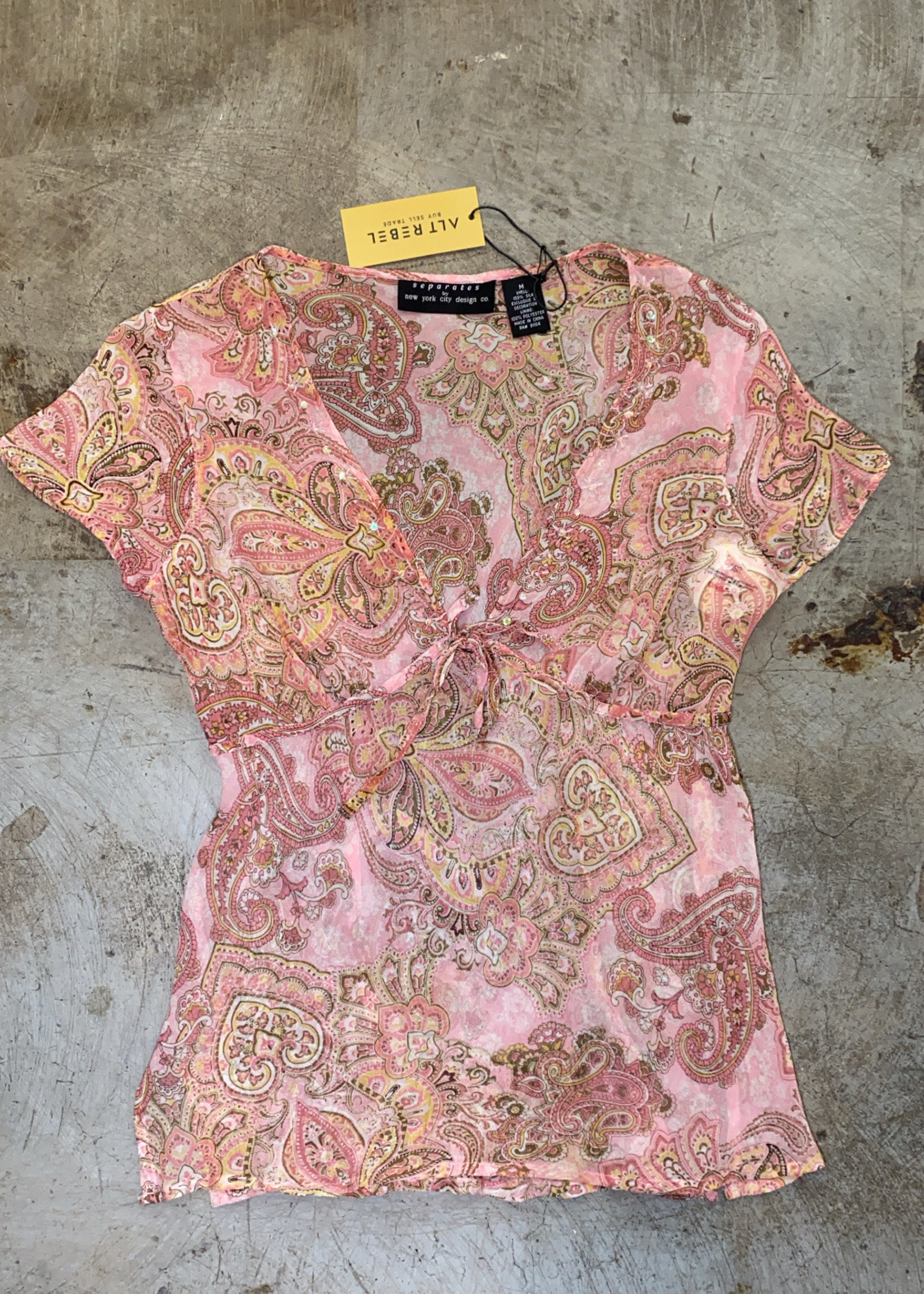 Separates by New York City Design Co Paisley Sheer Pink Blouse M
