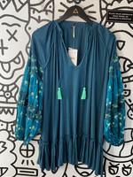 NWT Free People Teal Embellished Dress S