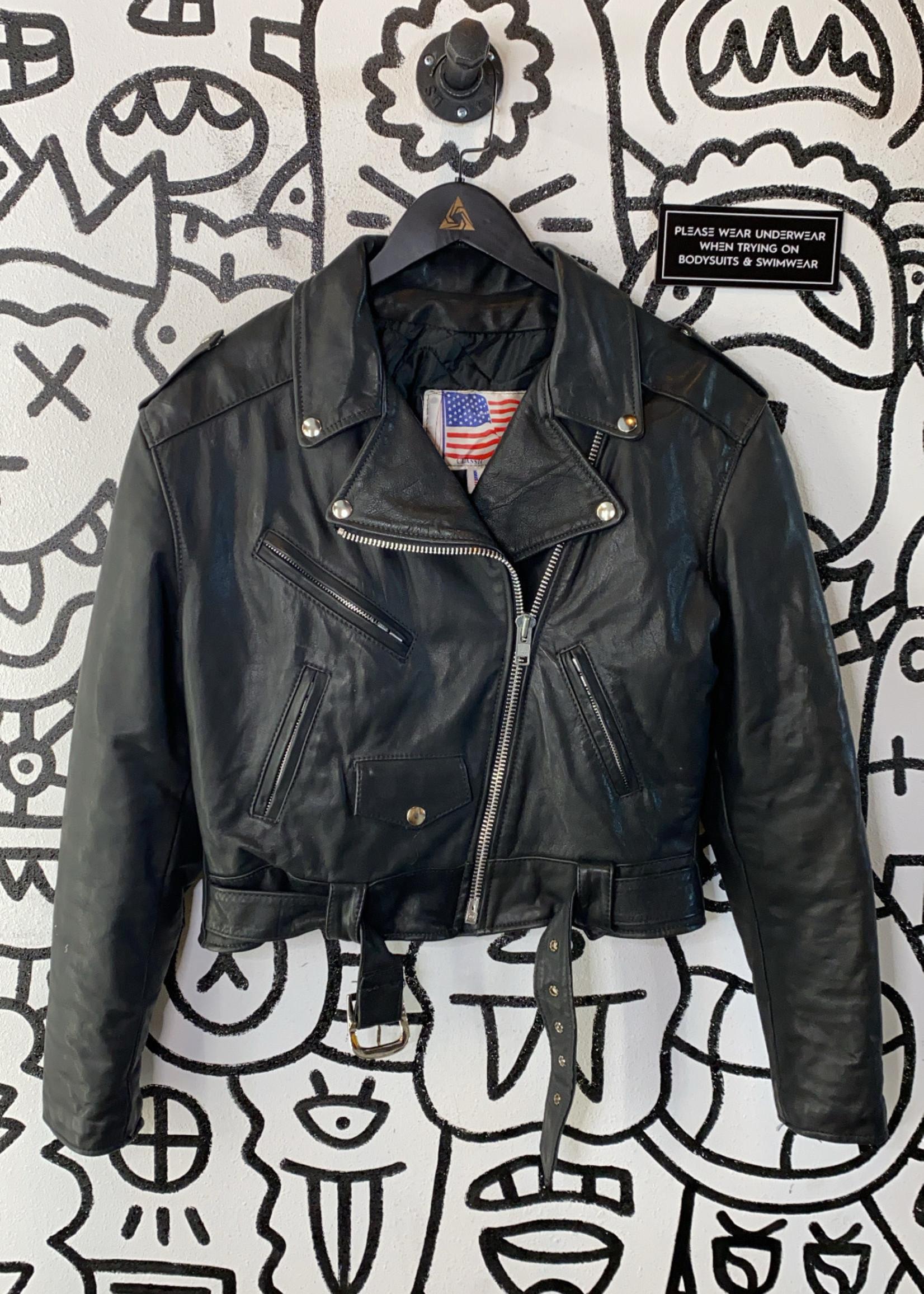 Classic leather black jacket L
