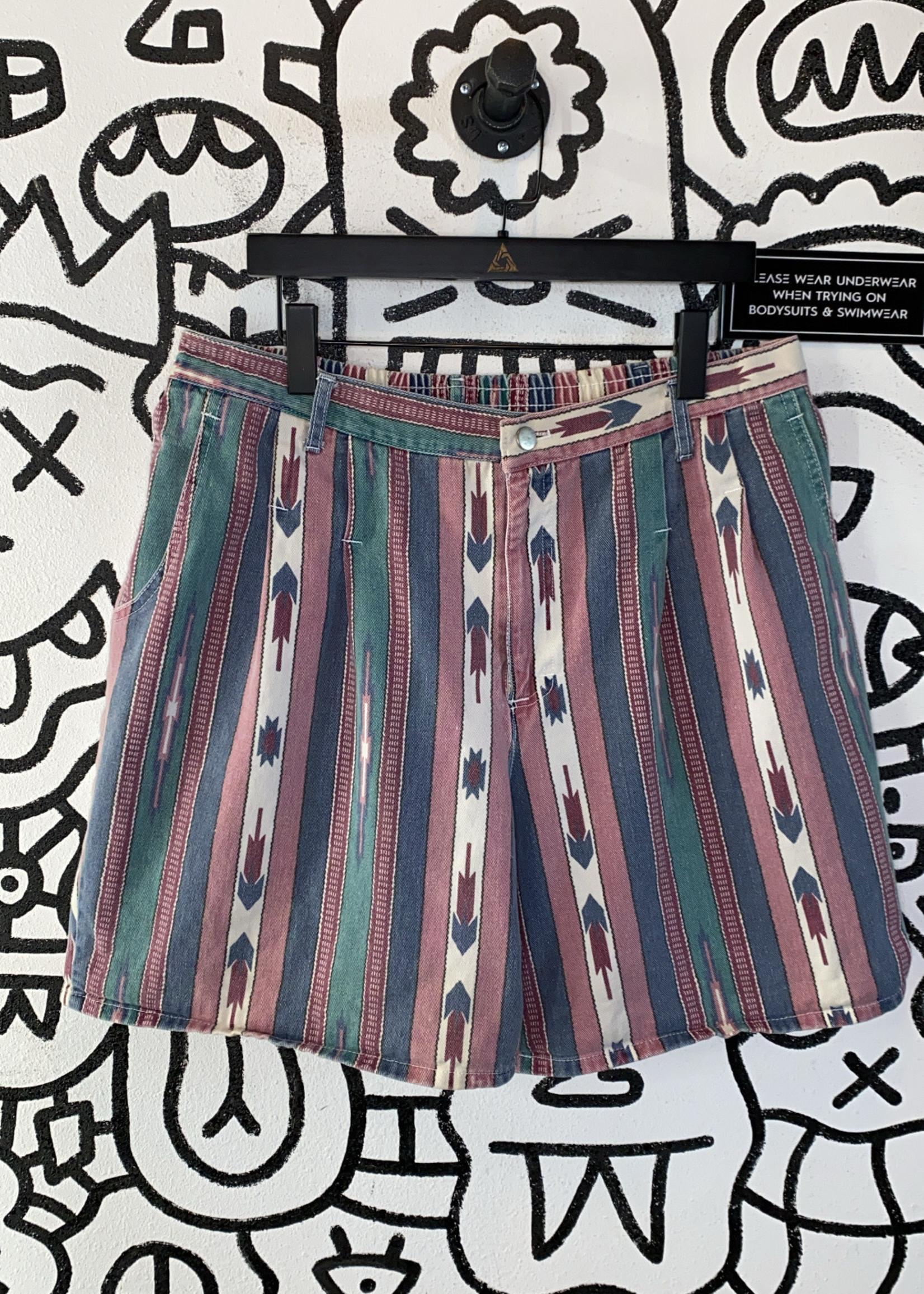 DAK Made in USA Vintage Red Green Stripe Stretch Shorts M