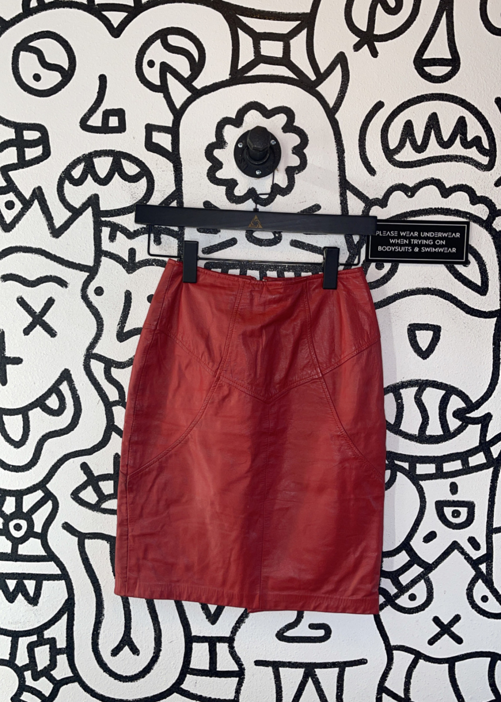 Red leather Wilsons skirt 4