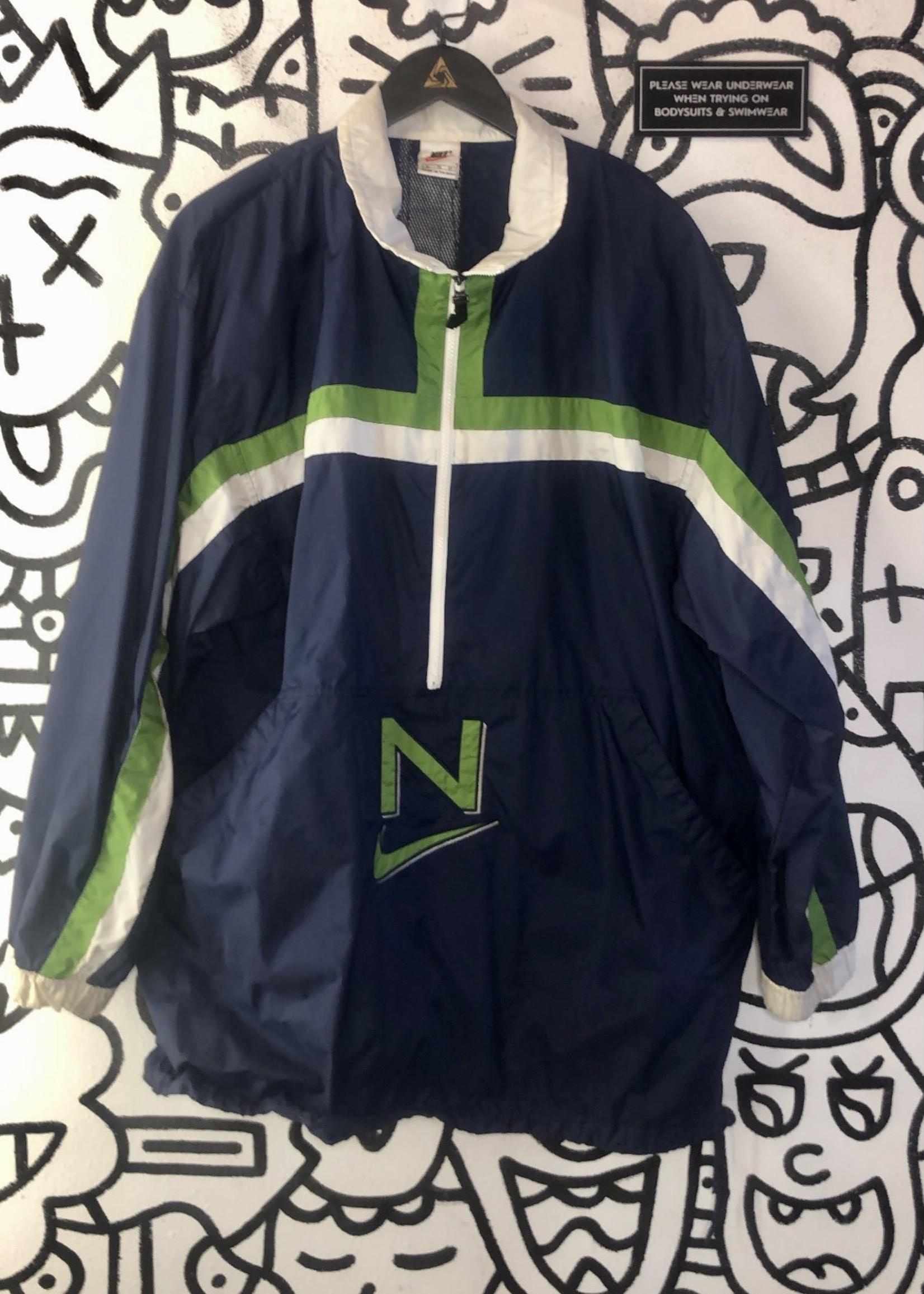 Vintage Nike Blue Green 1/4 Zip Windbreaker XL