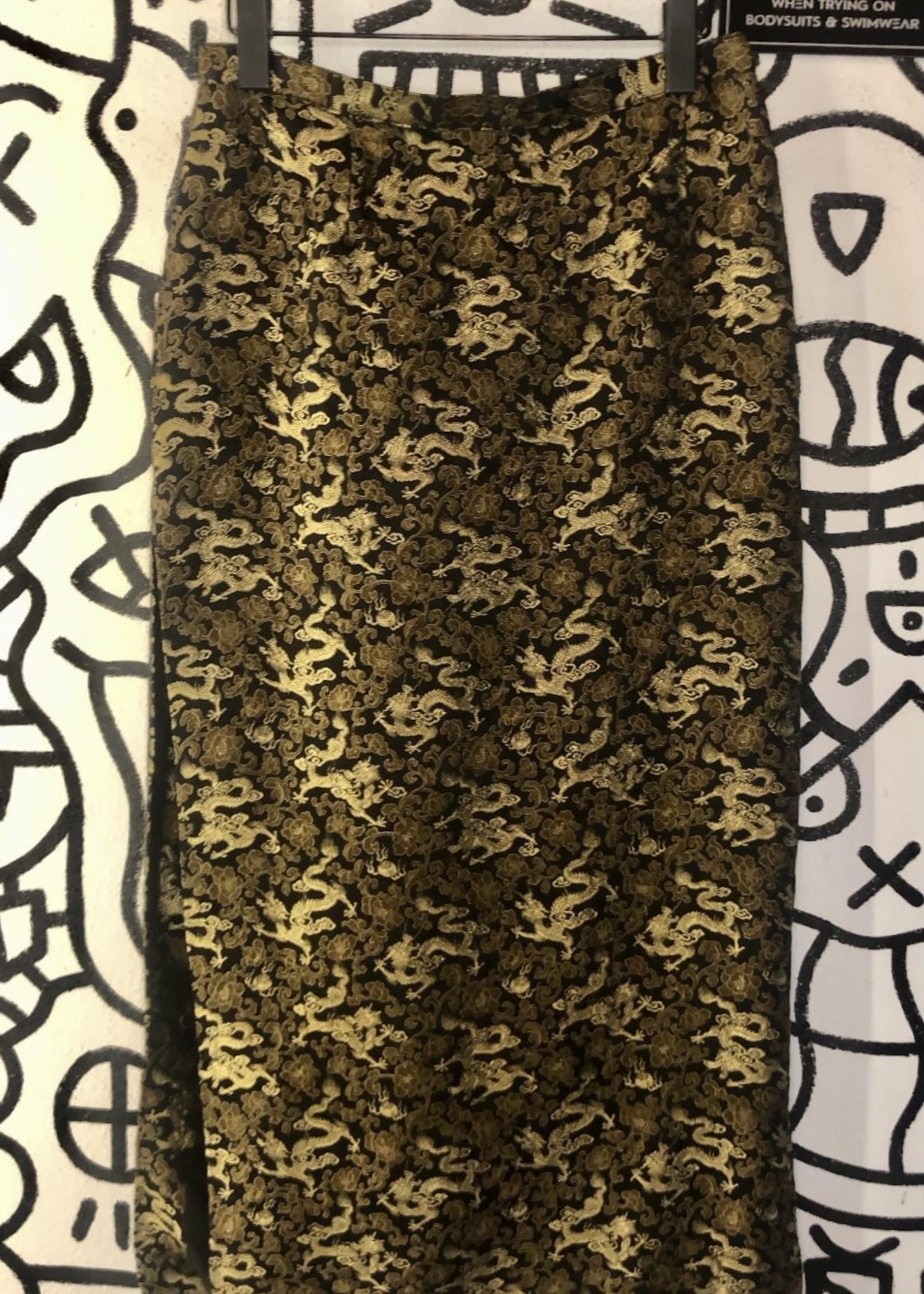 Vintage satin dragon maxi skirt 30
