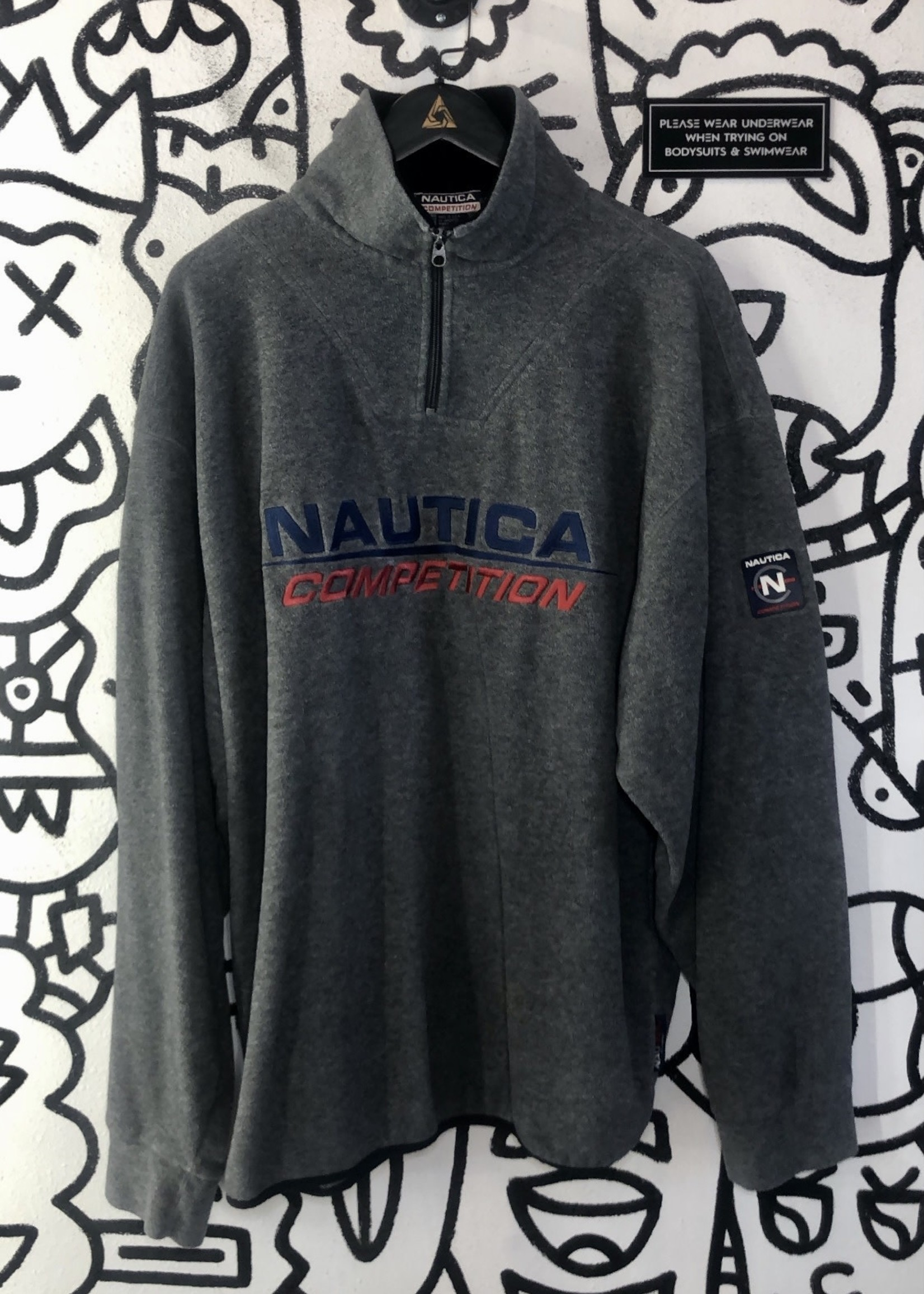 Vintage Nautica Competition Gray Fleece 1/4 Zip Jacket XXL
