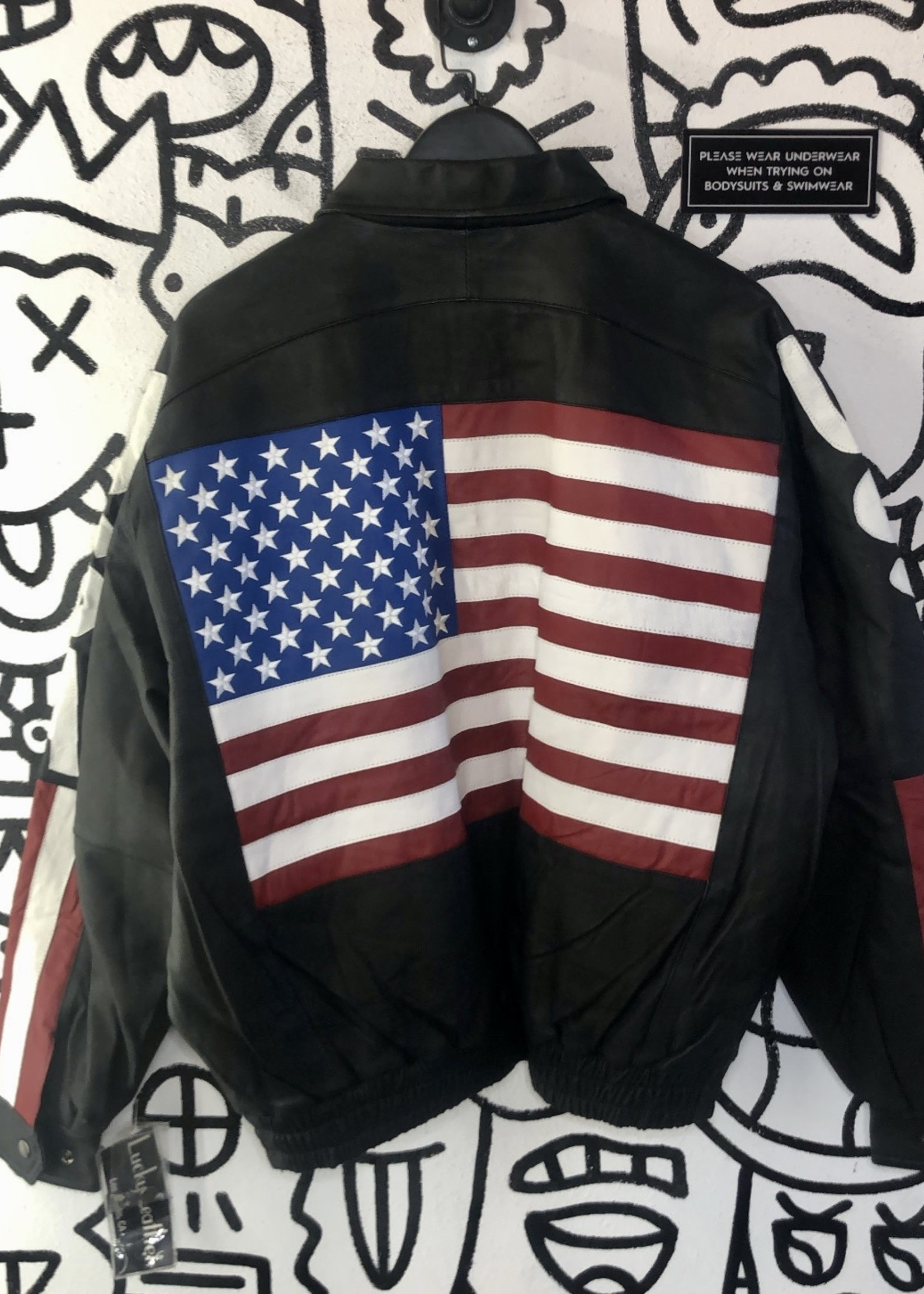 Deadstock Lucky Leather Co USA Black Jacket L