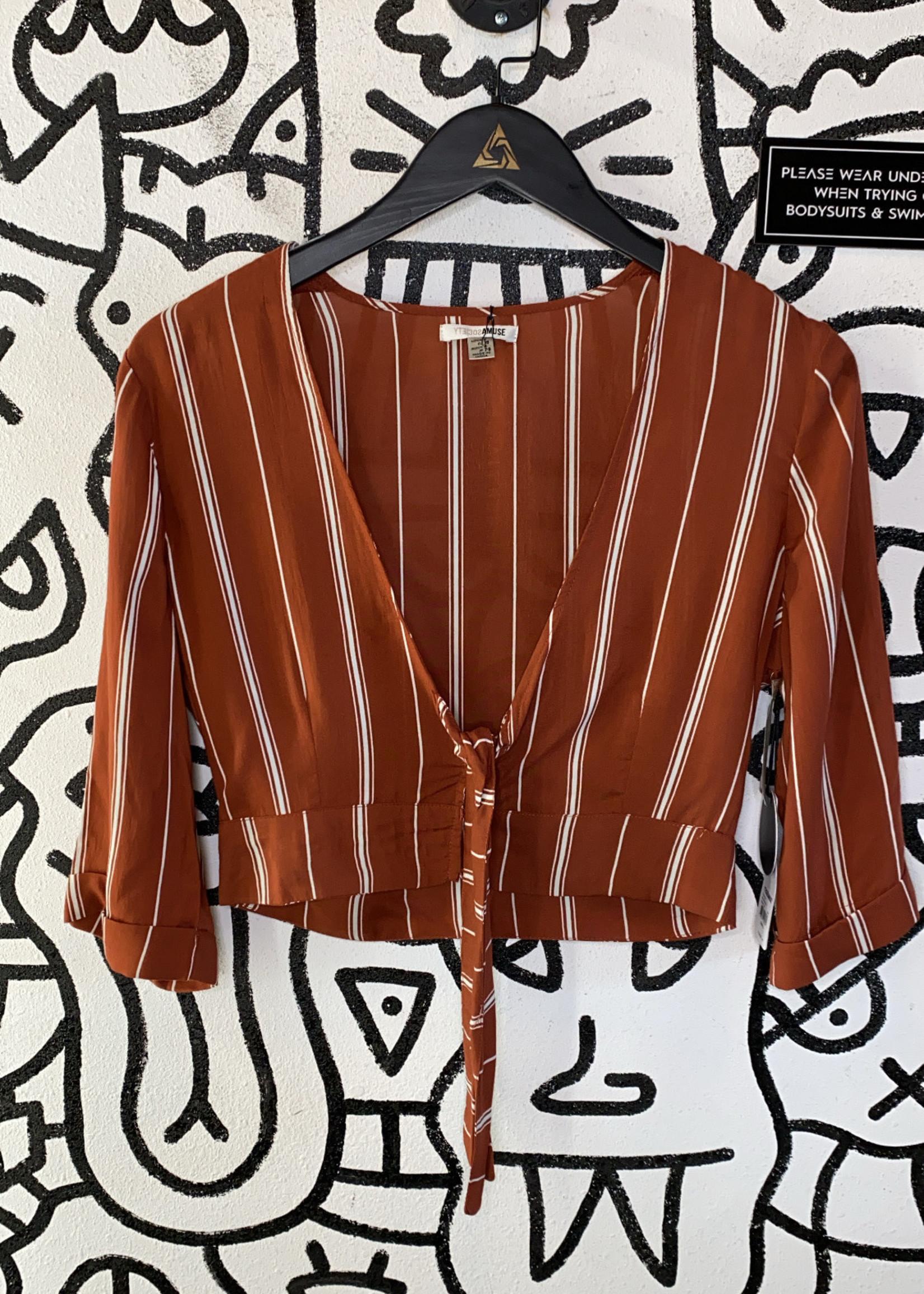 NWT Society Amuse Rust Orange Crop Tie Blouse S