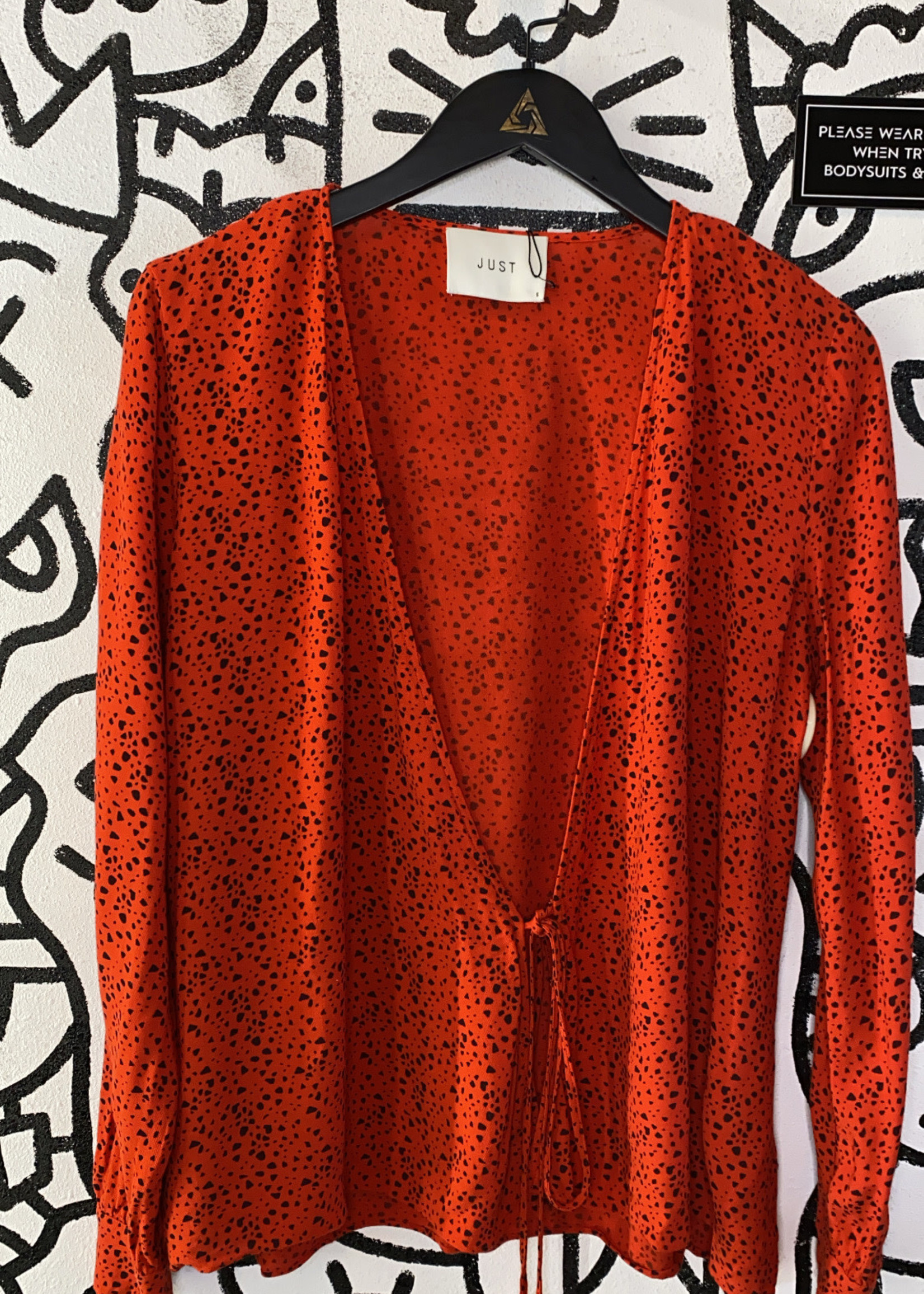 Just Red Spotted Long Sleeve Tie Blouse S