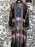 Free People Black Pink Pattern Long Coverup S