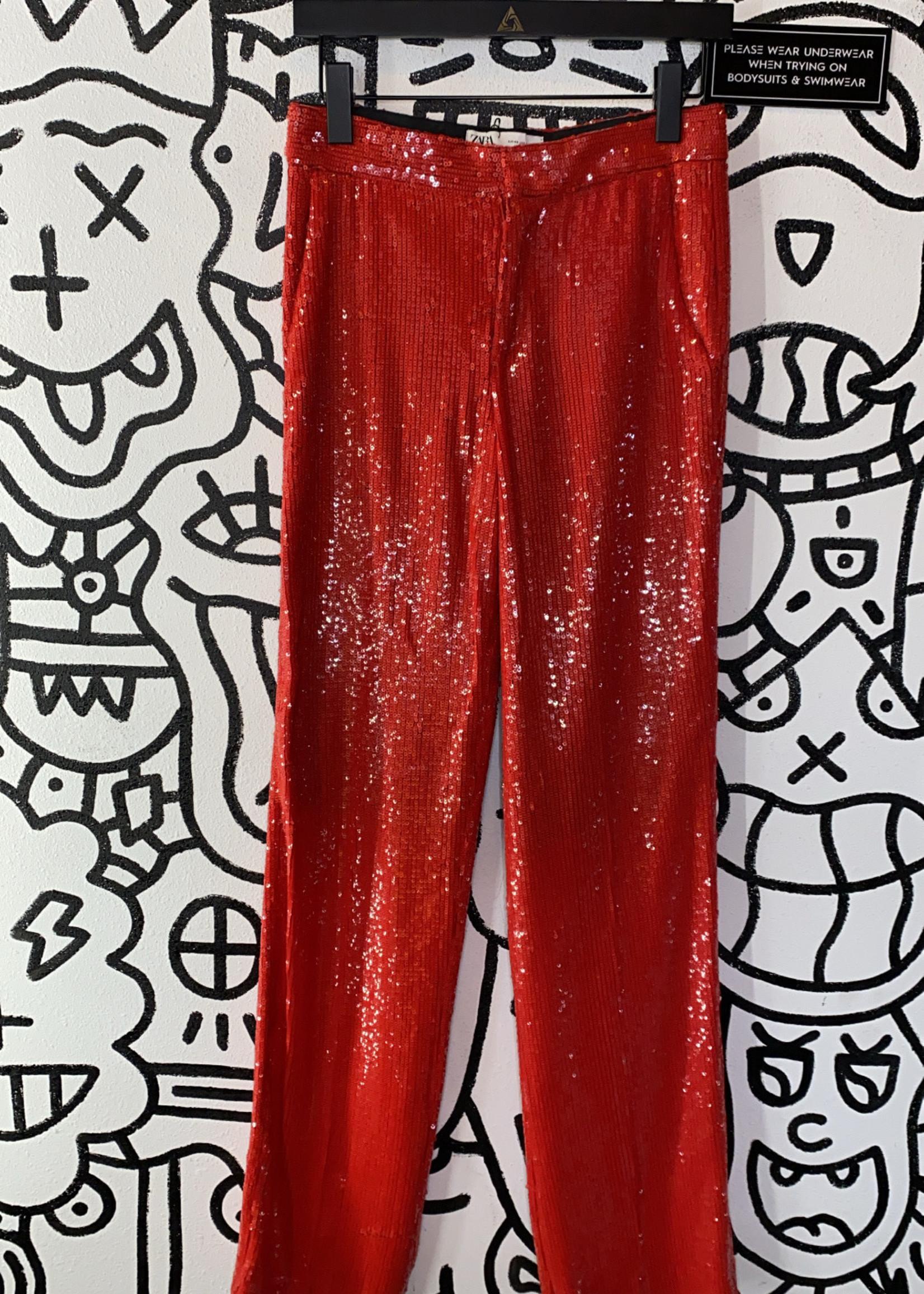 """Zara Red Sequin Pants XS/ 27"""""""
