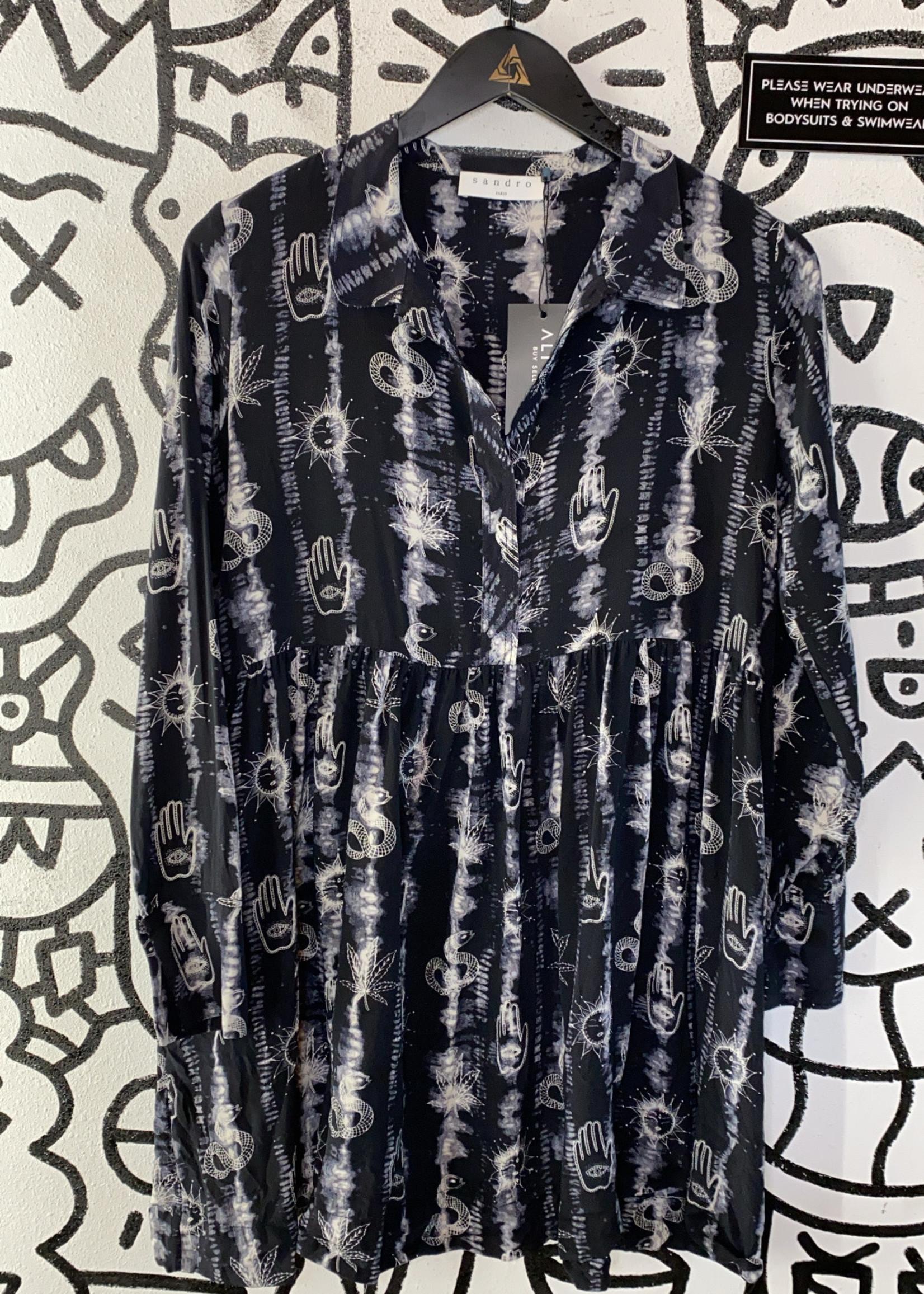 Sandro Black Peplum Dress