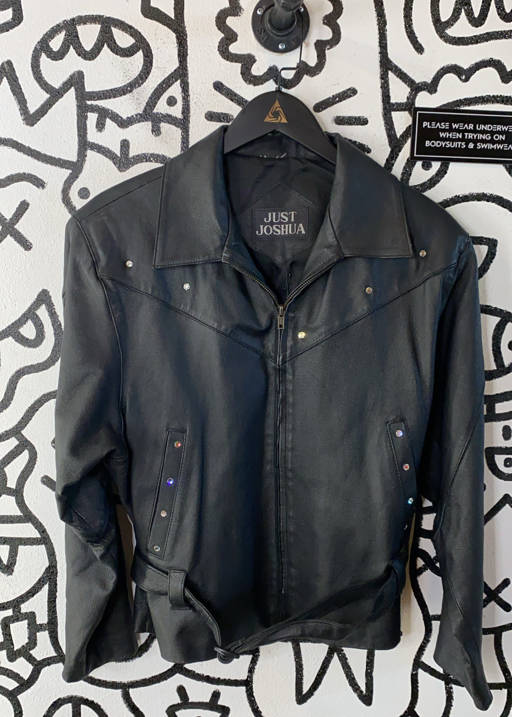 Just Joshua Black Leather Bedazzled Jacket L