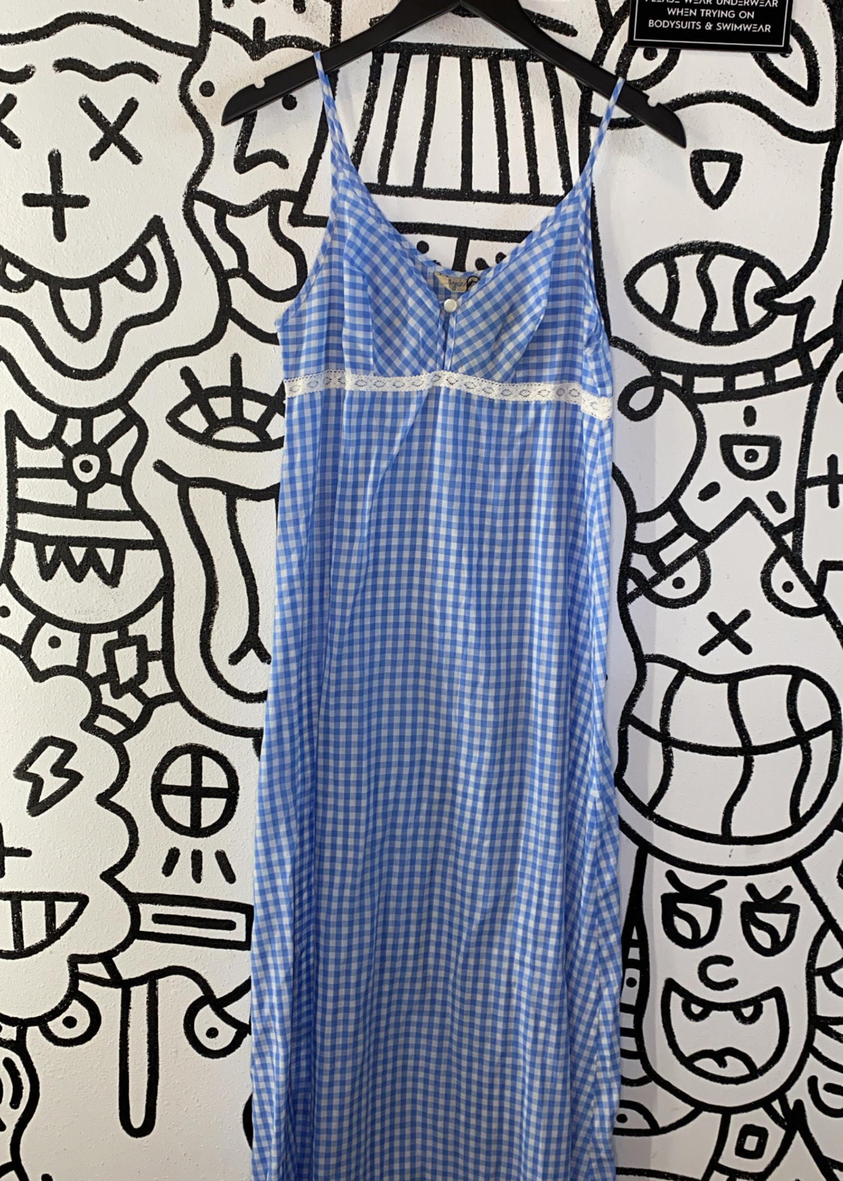 Fabrigio Michele Vintage Blue Plaid Long Tank Dress M