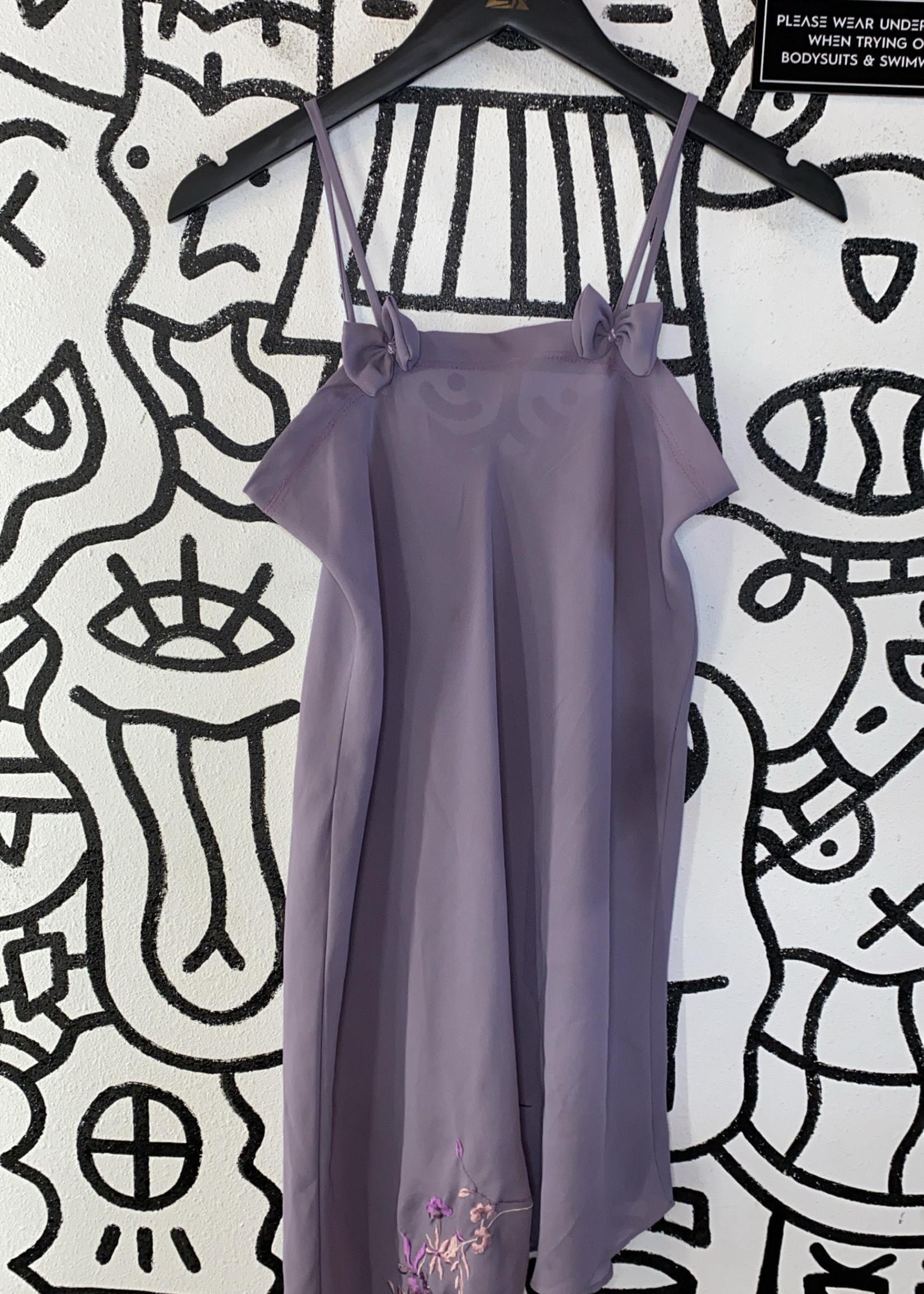 Vintage No Label Lavender Sheer Bow Dress S