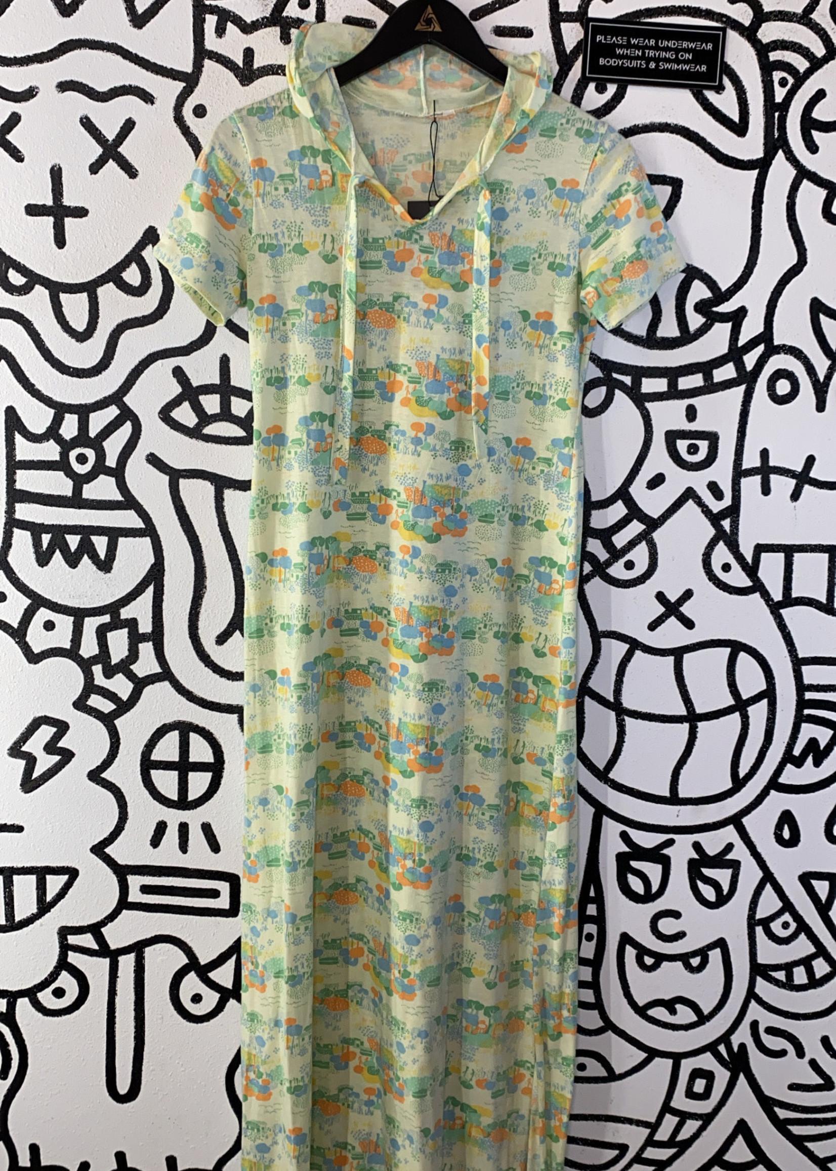 Vintage No Label Park Print Hooded Long Dress S