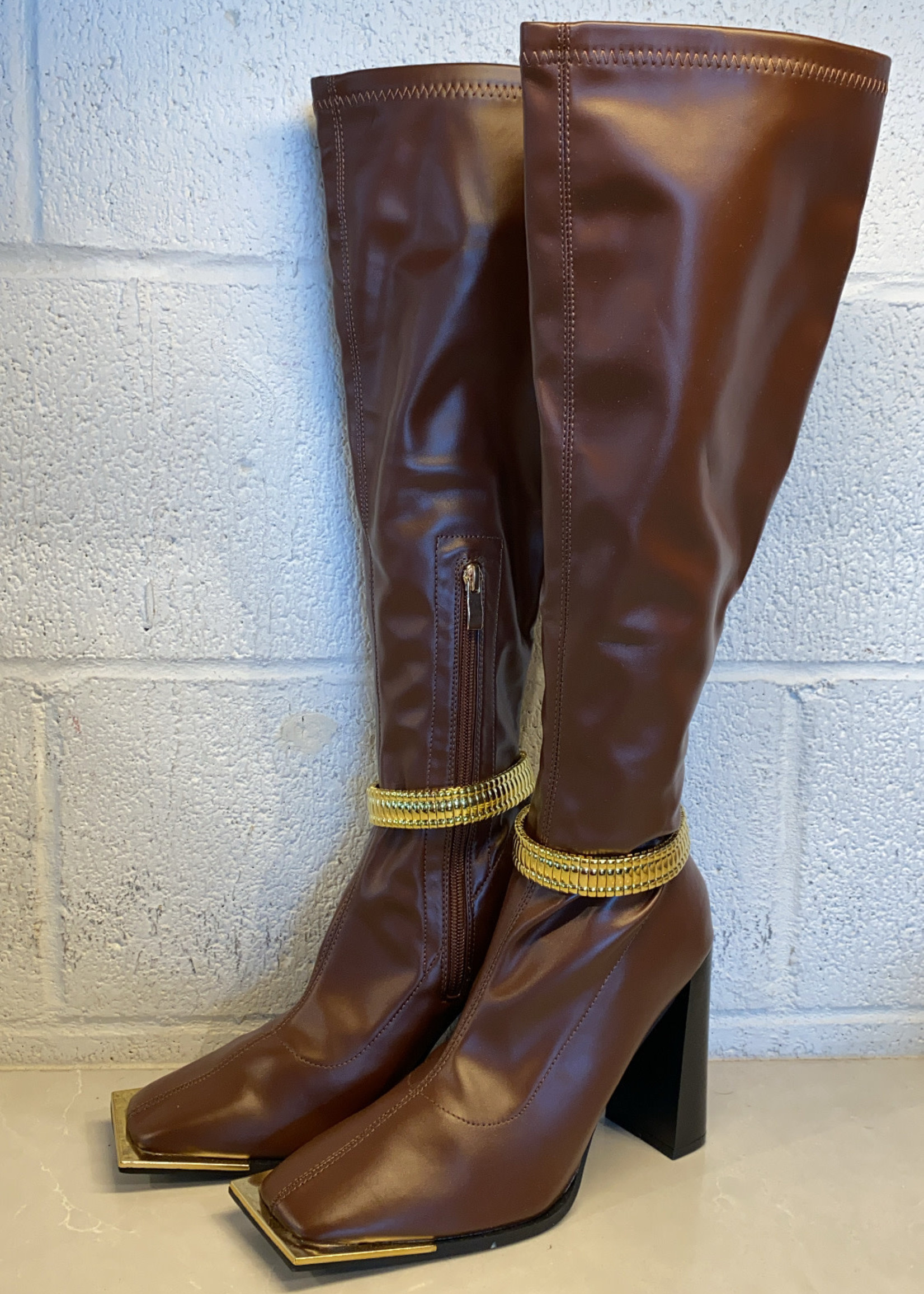 NEW Public Desire Brown Heeled Boots Gold Accent 8