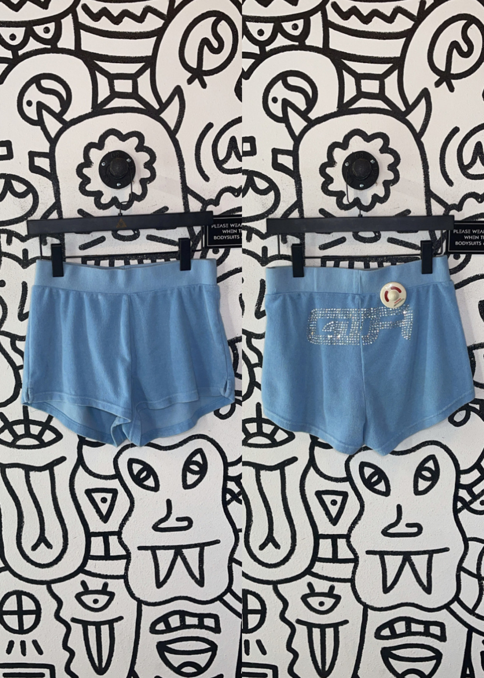 I Am Gia Blue Terry Cloth Shorts S