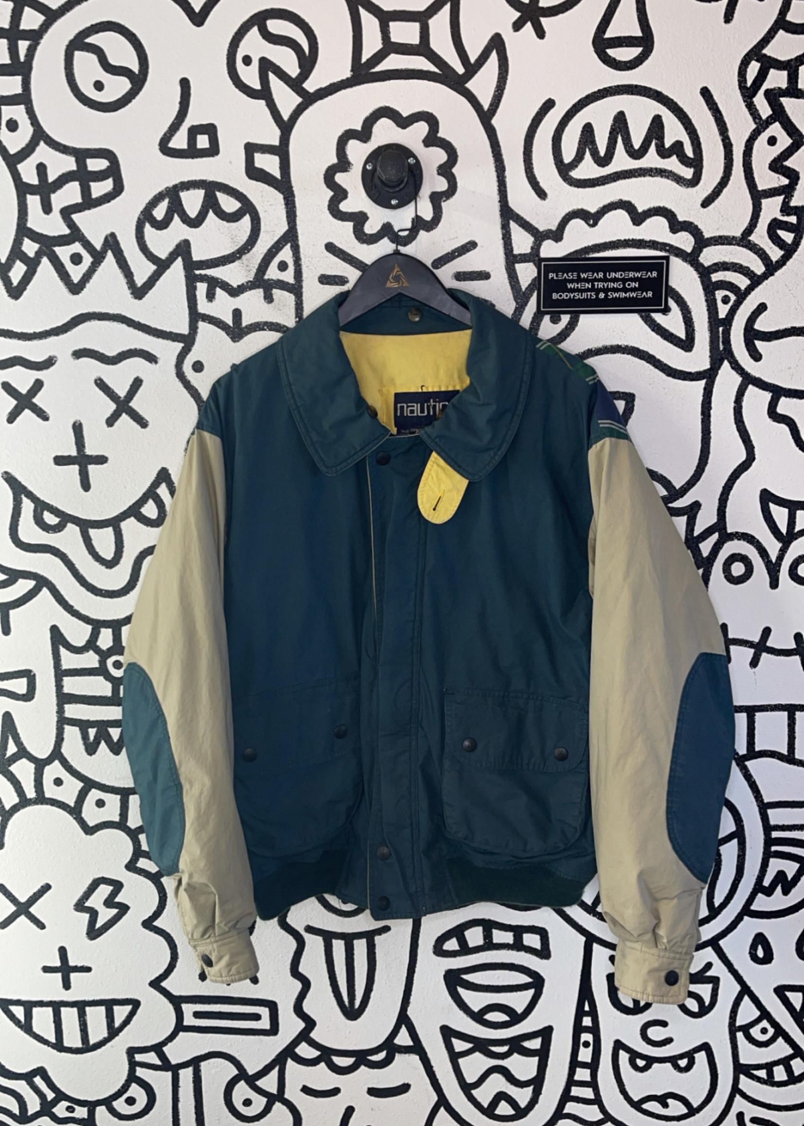 Nautica Vintage Green Beige Sleeve Jacket L