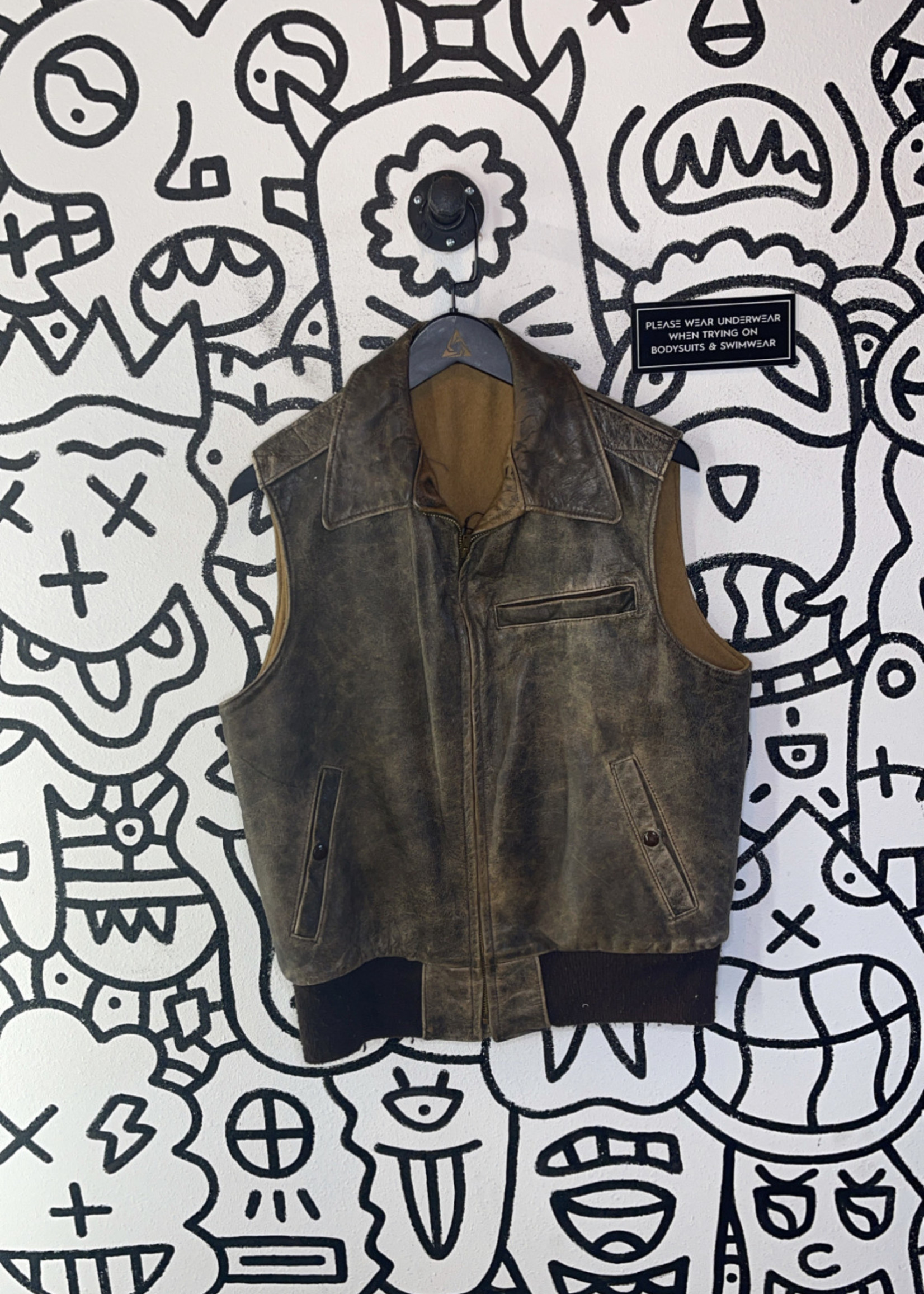 Vintage No Label Brown Leather Vest L
