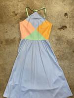 Vicky V California Vintage Colorblock Halter Dress S