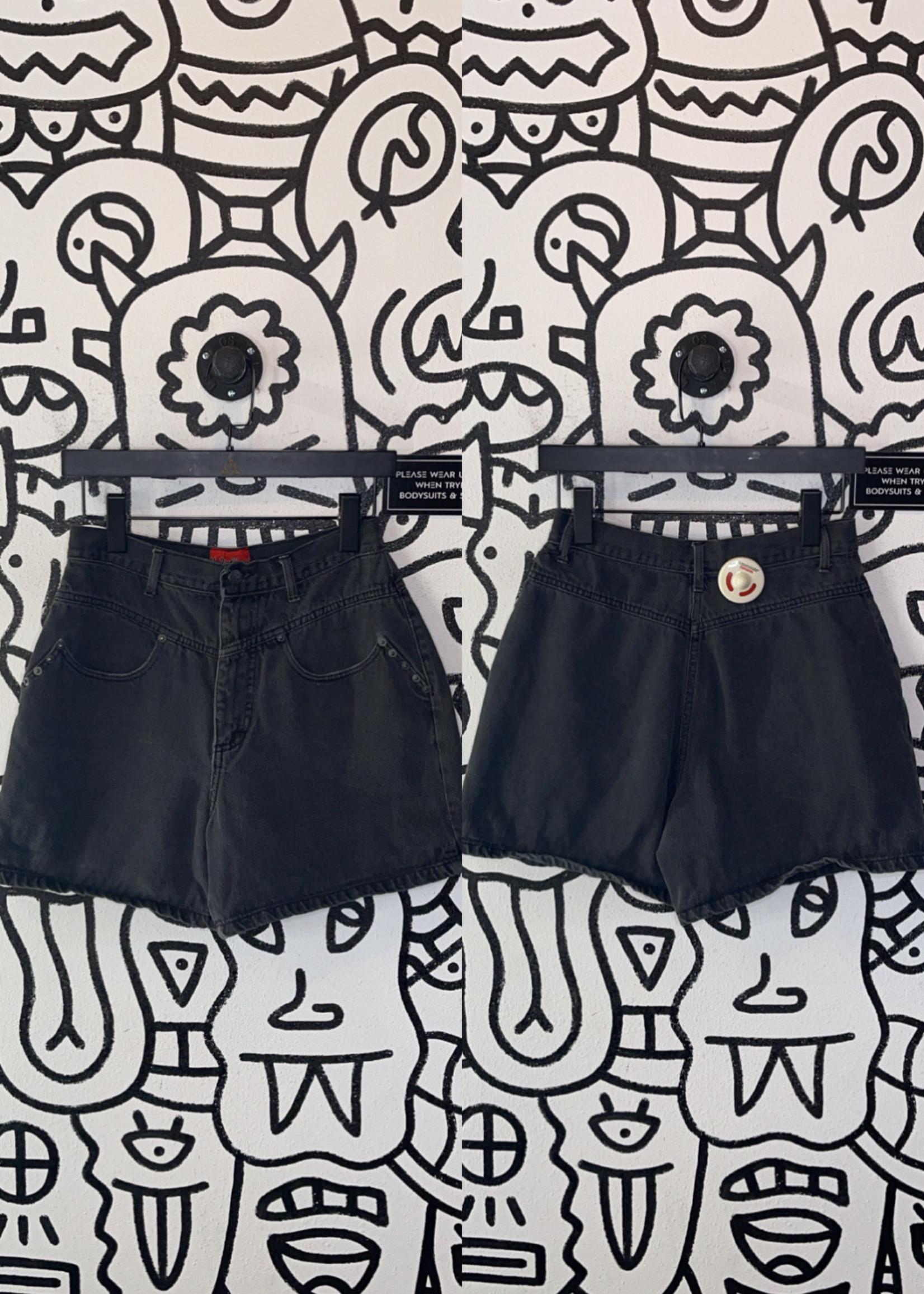 Vintage no problem black high waisted shorts 26