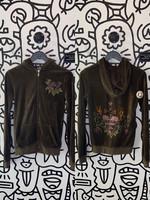 Brown y2k rose zipper hoodie M