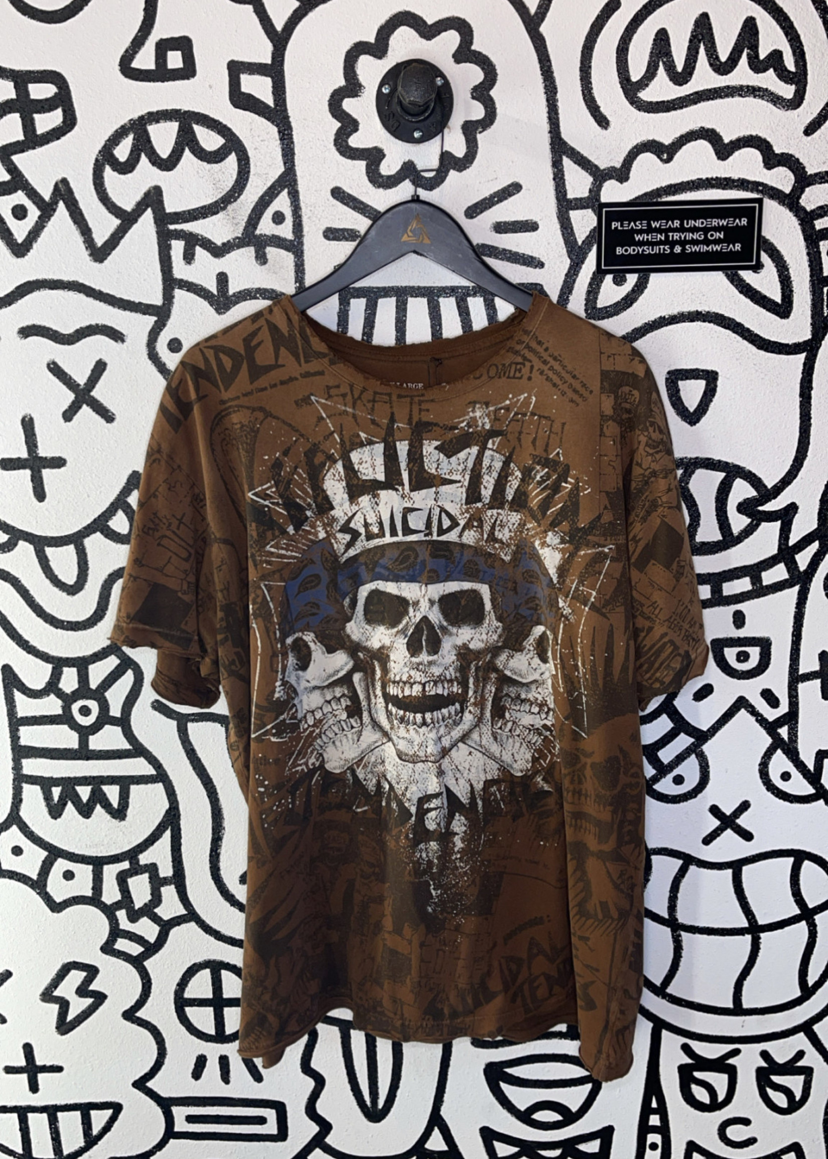 Affliction Suicidal Tendencies Brown All Over Print Tee 2XL