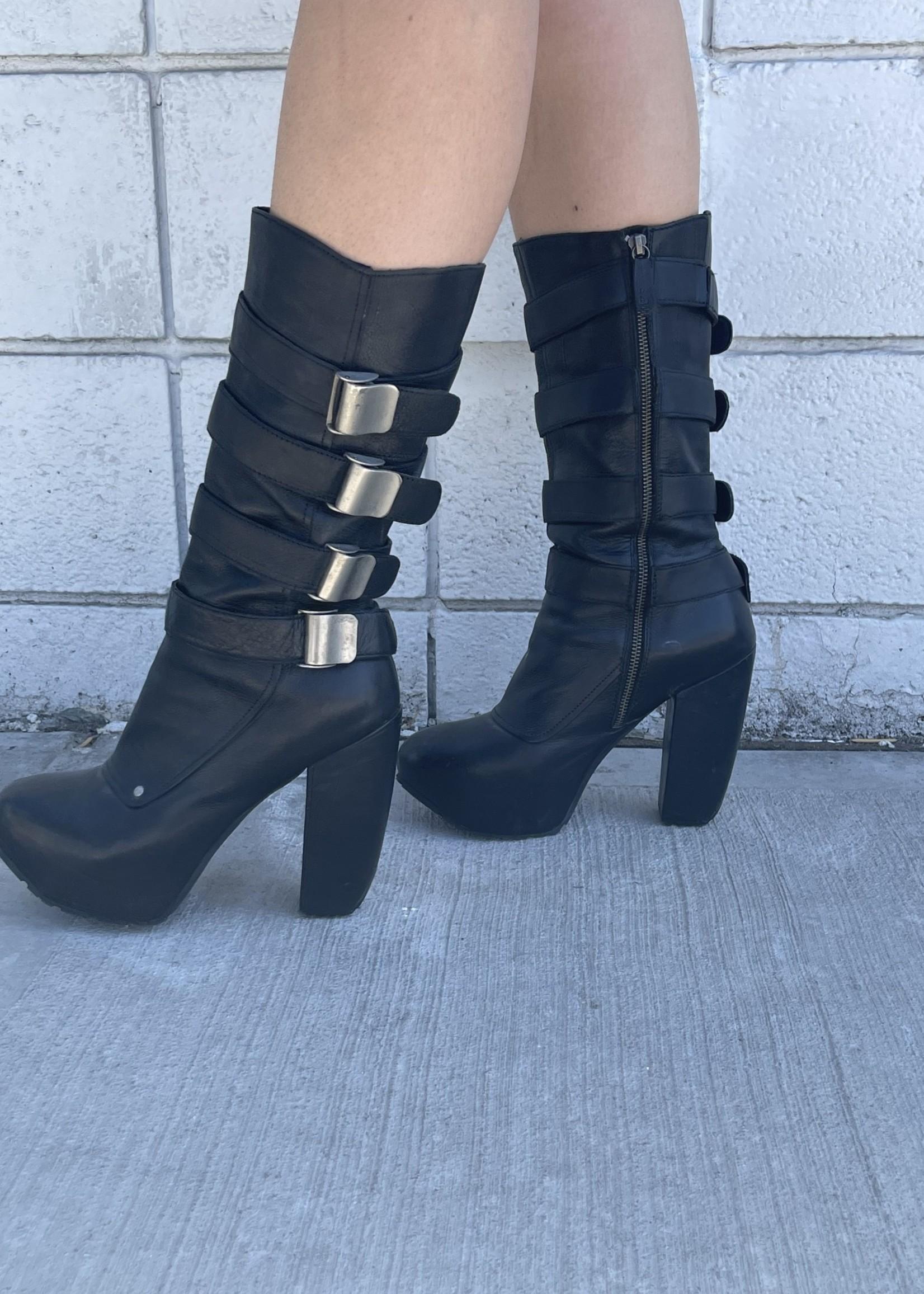 Miista Black Platform Heeled Boots 10