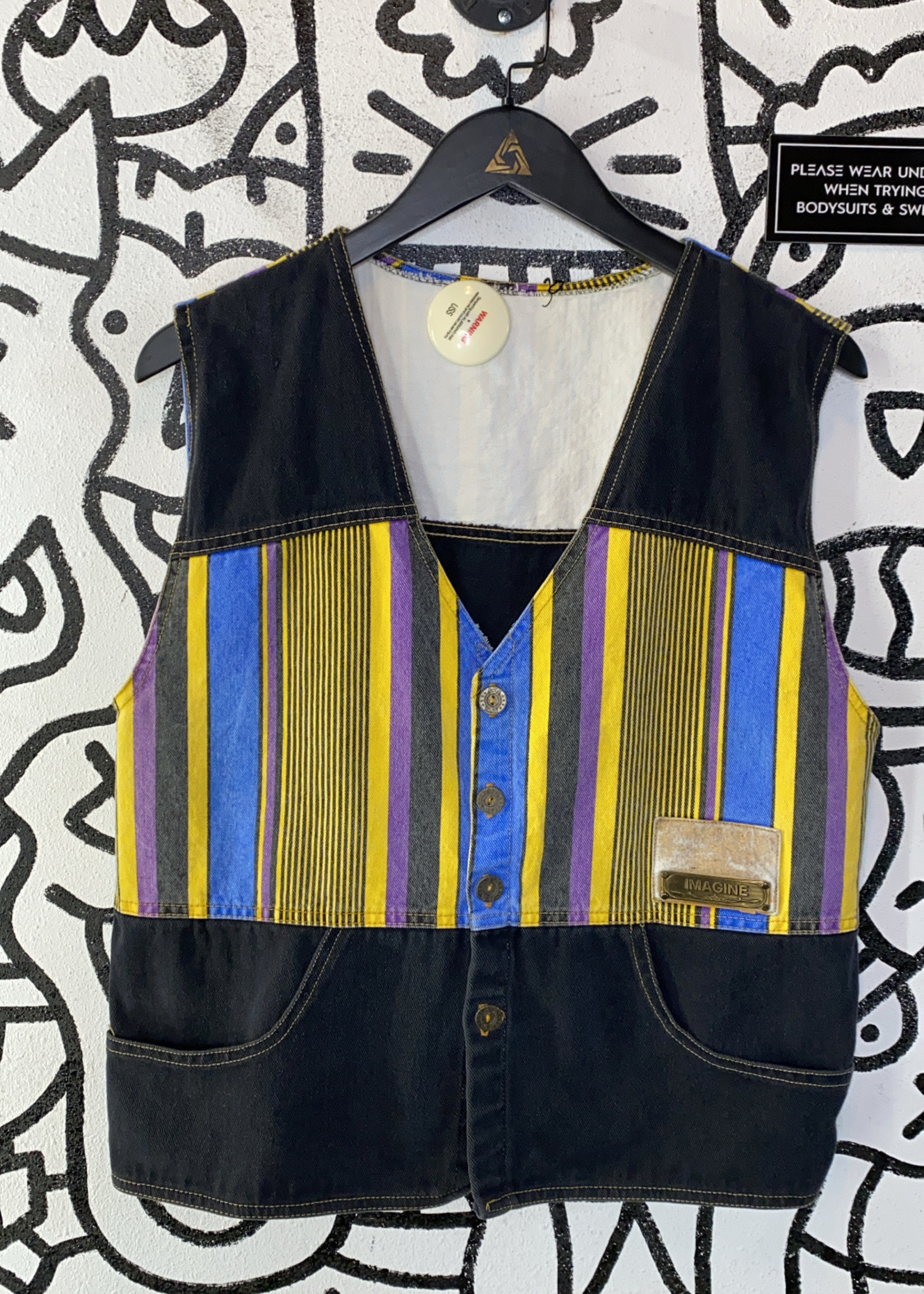 Vintage imagine black and yellow striped vest XL