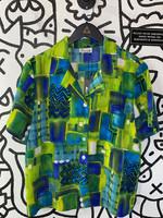 Justin B Jones Vintage Green Blue Button Down XL