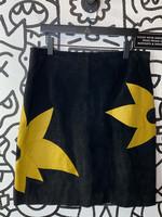 "Metrostyle Black Suede Flower Skirt L 36"""