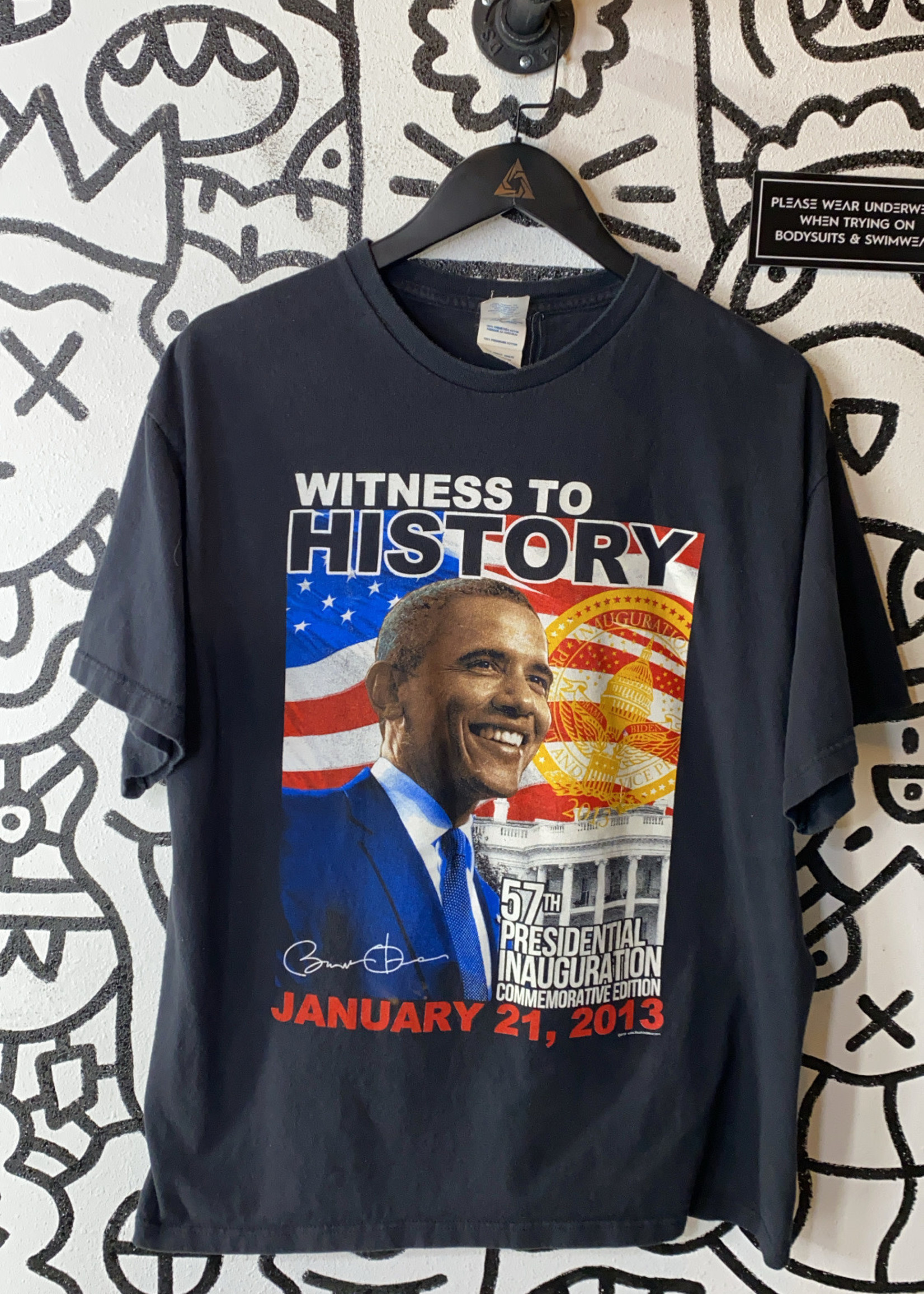 Obama witness to history 2013 black tee XL