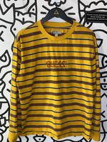 Guess Originals Retro Logo Yellow Striped Long Sleeve M