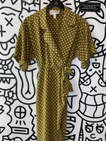 Bill Geoffreys Vintage Green Polka Dot Silk Dress S