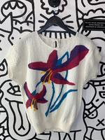 Vintage No Label White Floral Print Knit Blouse M