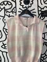 TQ White Pink Knit Sweater Tank M
