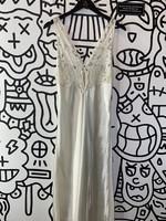Vintage victoria secret white long slip lace dress M