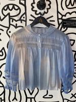 Luxite Vintage Blue Sheer Ruffle Blouse M