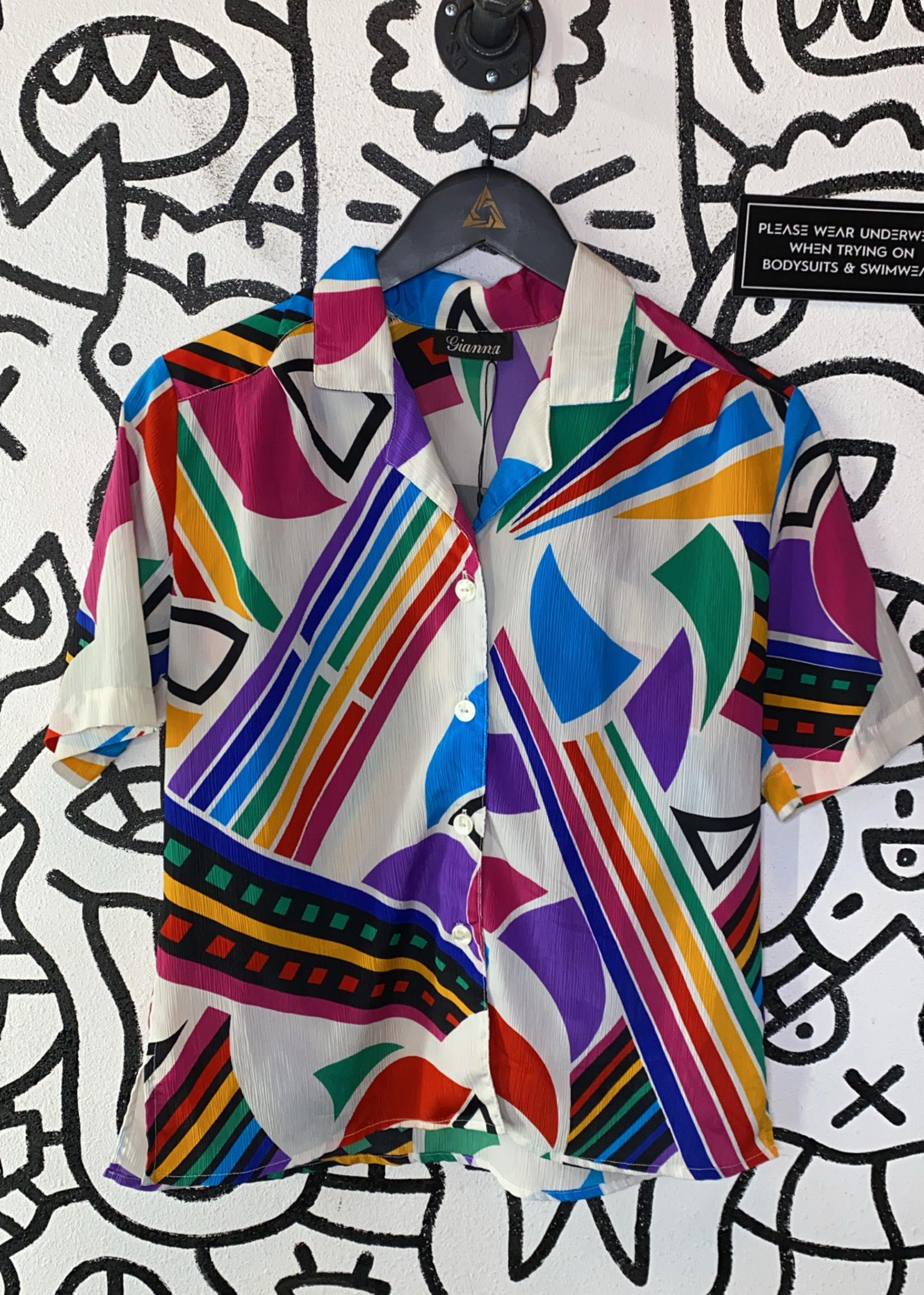Gianna Vintage Multicolor Button Down S