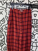"Jigsaw Vintage Red Plaid Button Down Skirt 28"""