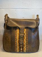 Vintage Brown Leather Patterned Shoulder Bag