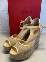 Valentino Beige Lace Wedges 9