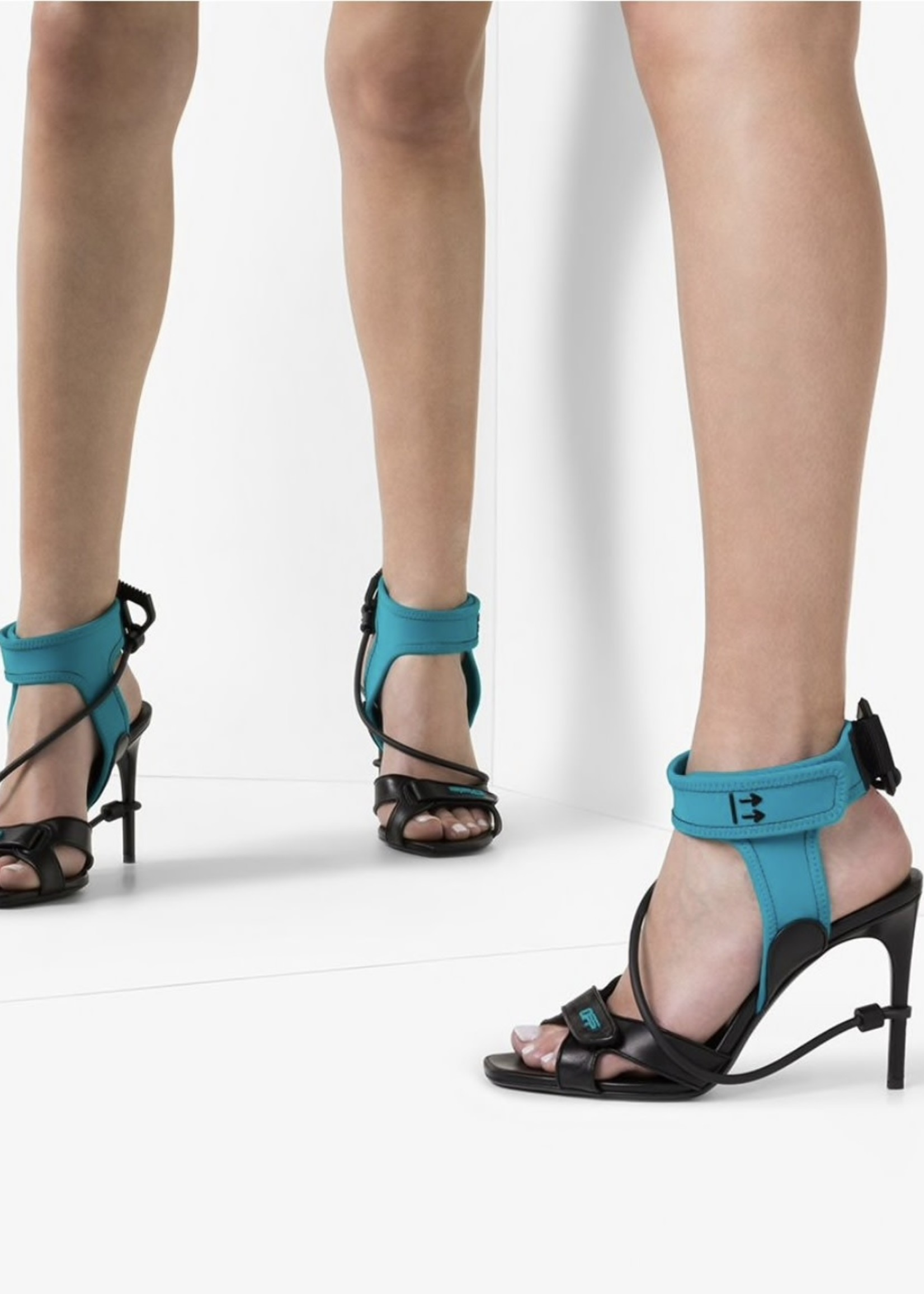 Off White Leather Teal Surf Heels 40/9 (Retail: $668)