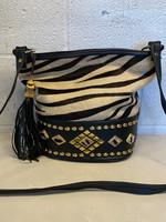 Vintage Zebra Studded Black Bucket Bag