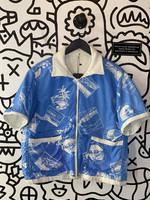Vintage No Label Hawaii Print Blue Zip T-Shirt Jacket M